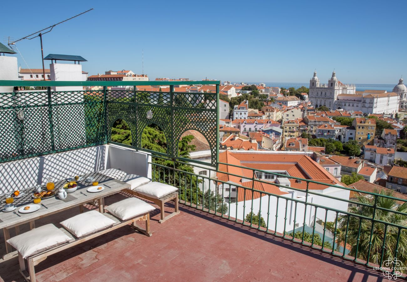 Traditional Portuguese terrace with Tagus view