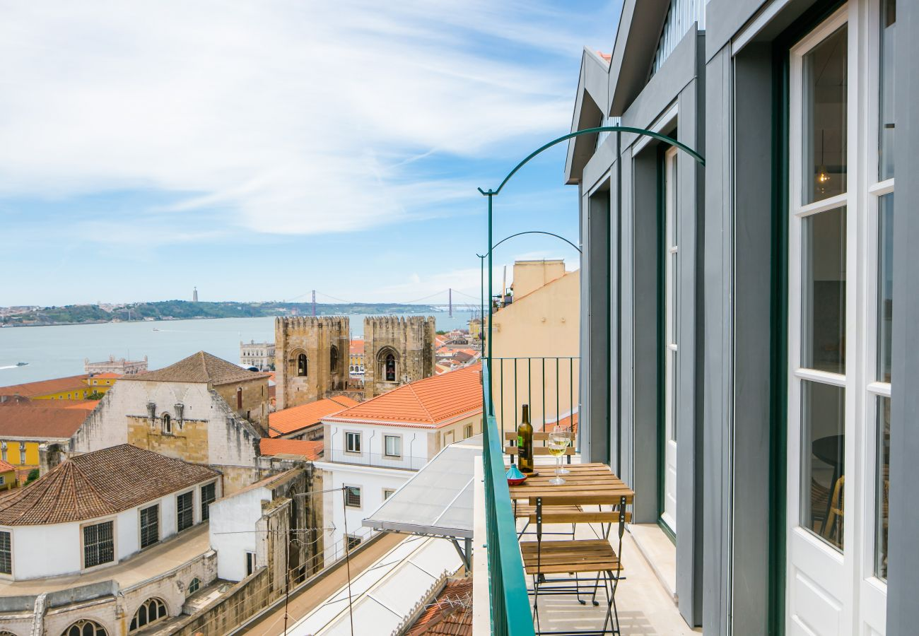 view of the river from the high-end rental apartment in Lisbon