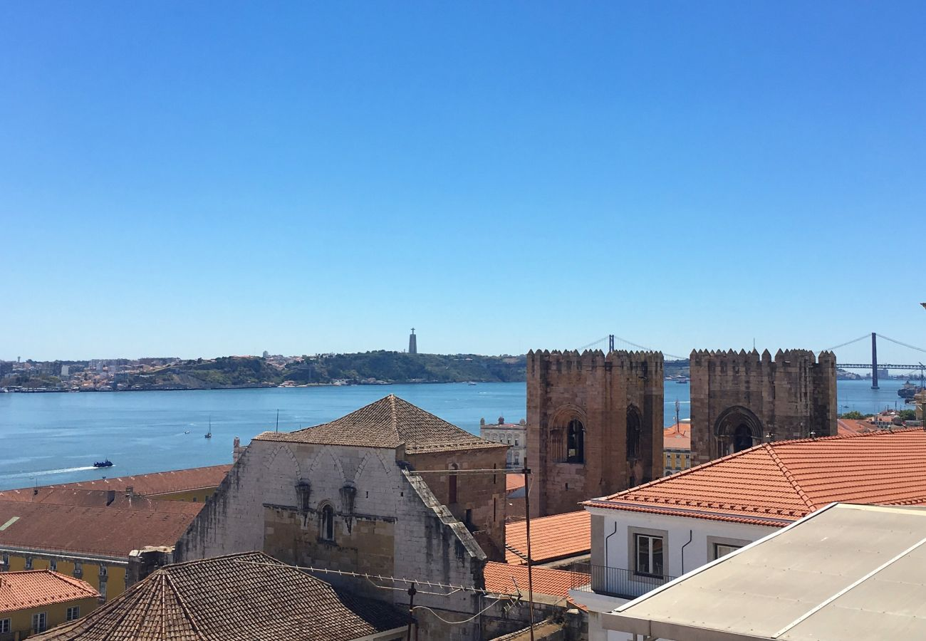 view of the Sé Cathedral from the balcony of the Lisbon rental apartment