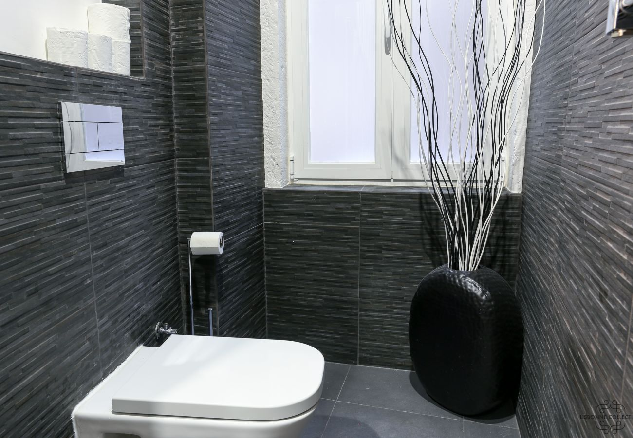 luxury toilet with window and modern decoration in rental apartment