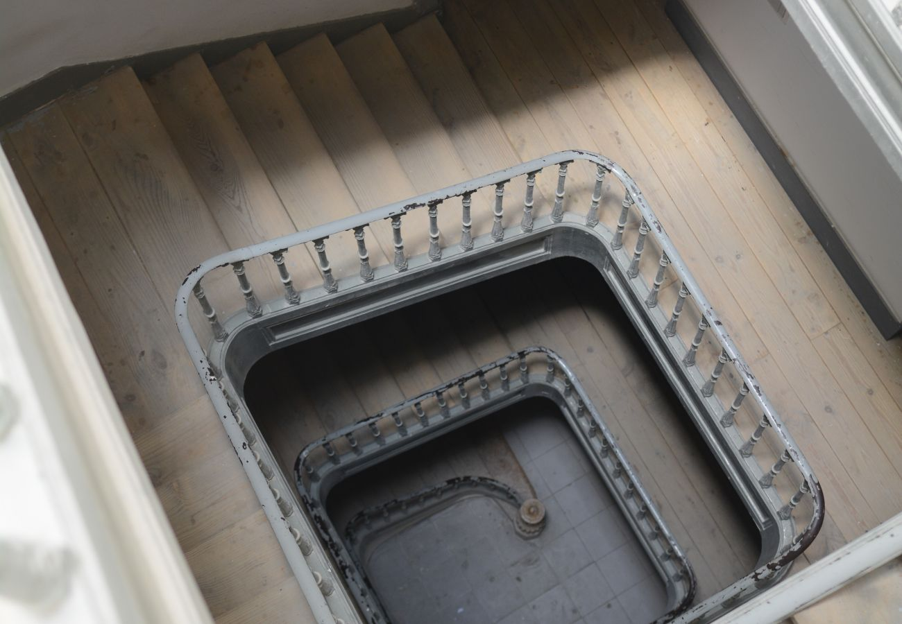 Cage staircase in a typical building of the center of the Portuguese capital