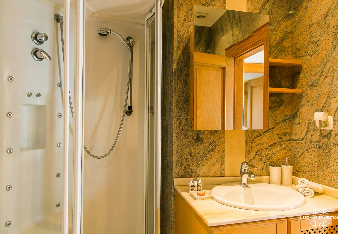 Marble bathroom with luxury shower