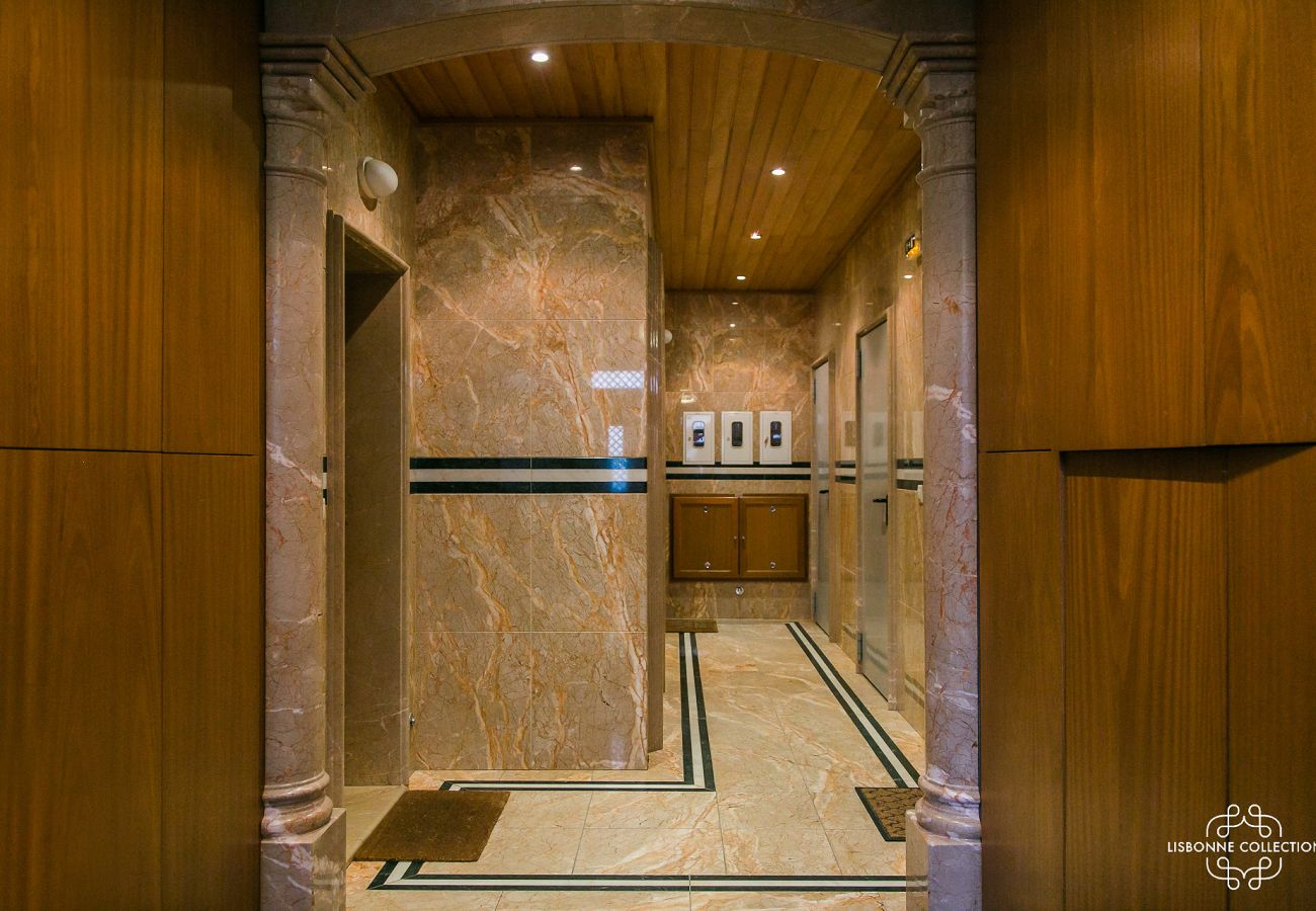 Luxurious and prestigious marble lobby of the rented apartment