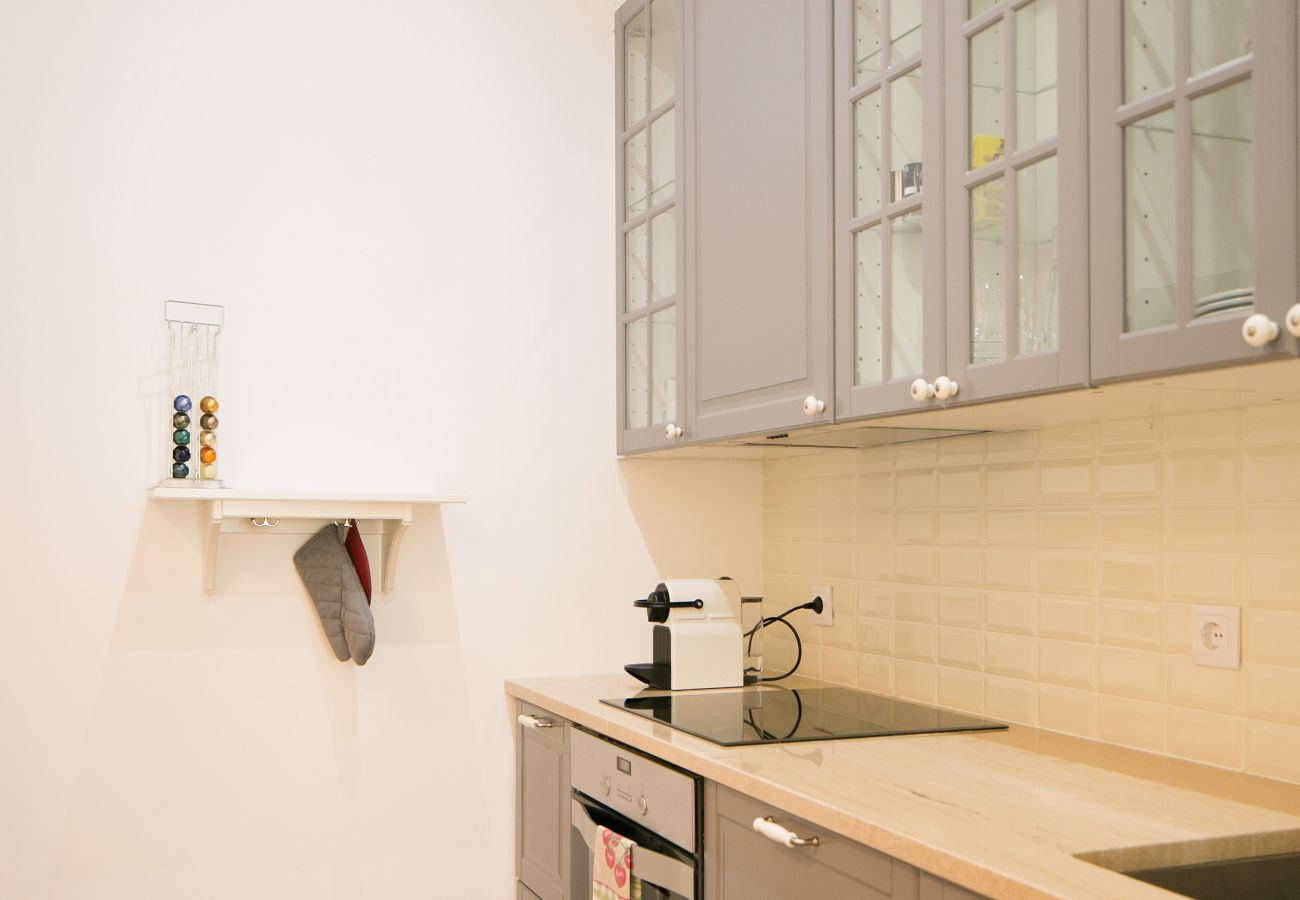 Kitchen in sober and refined tones for rent in the heart of the city