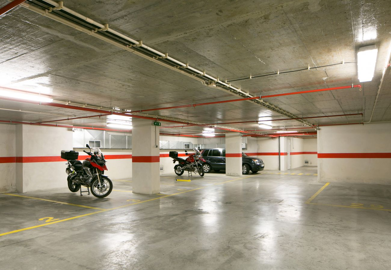 Underground parking of the building where the apartment for rent is located