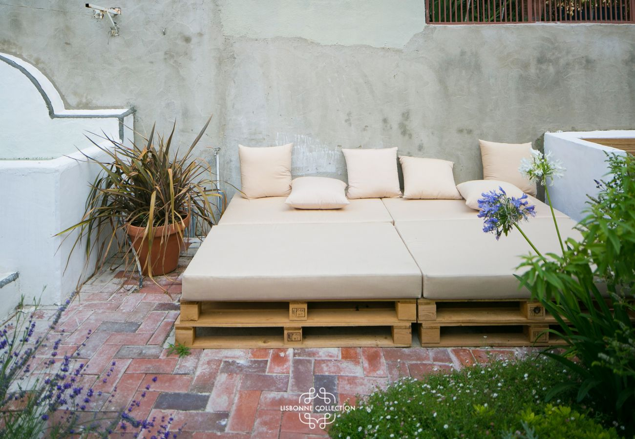 Vintage outdoor sofa for lounging during an aperitif