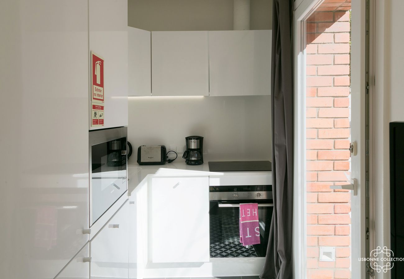 Fully equipped kitchen with access to an esplanade. Garden overlooking the Tagus