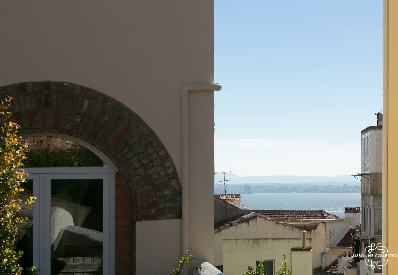 View of the Tagus from the garden of the rental apartment in Lisbon