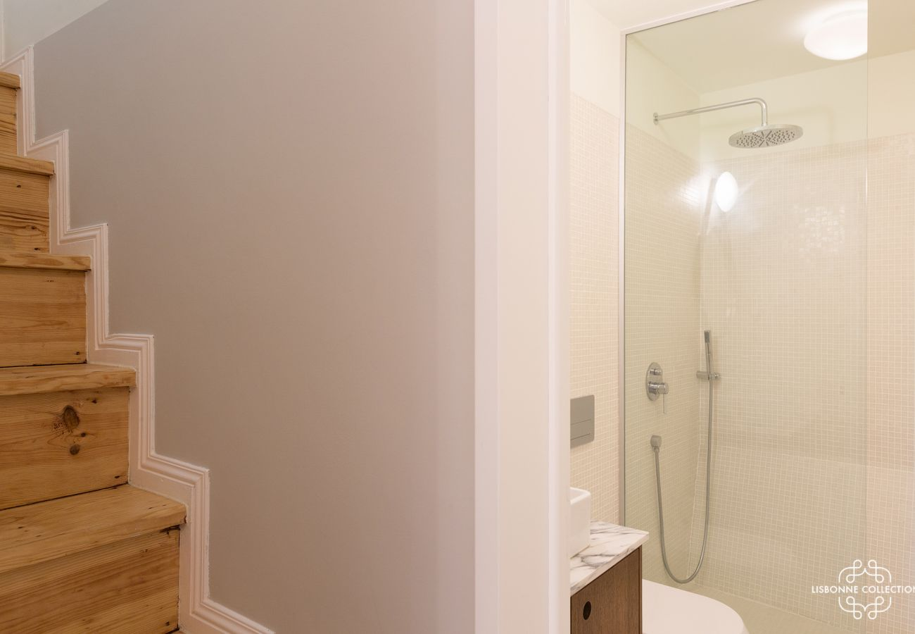 Duplex apartment with bathroom with shower, toilet and sink
