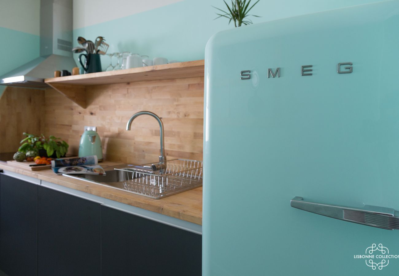 Trendy and colorful fridge in a luxury kitchen