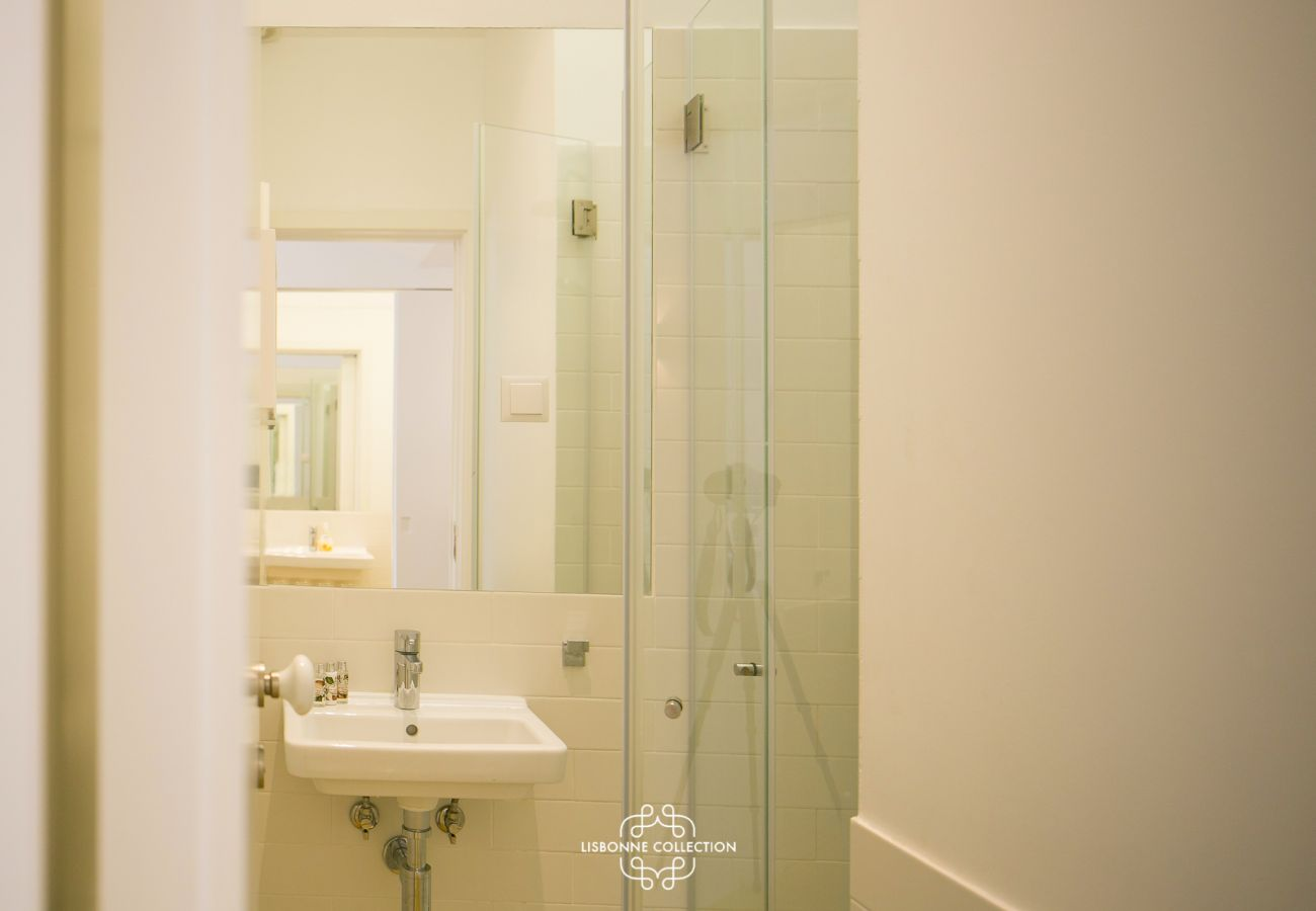 Resplendent bathroom with shower and washbasin