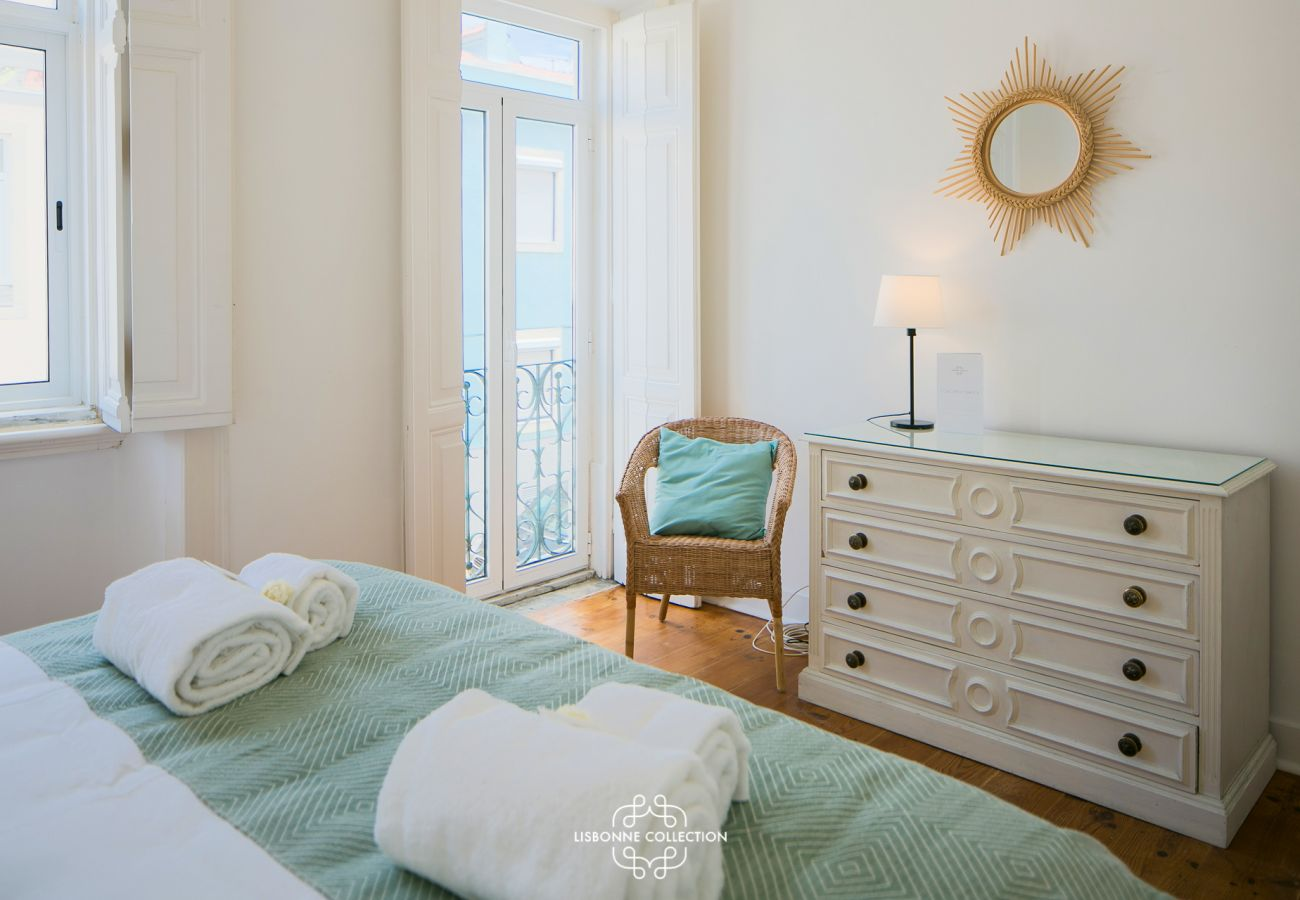 Designer bedroom with clean tones available for rent