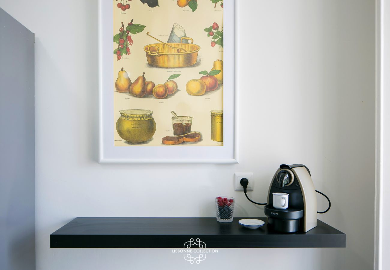 Decoration in the kitchen with frame and coffee maker