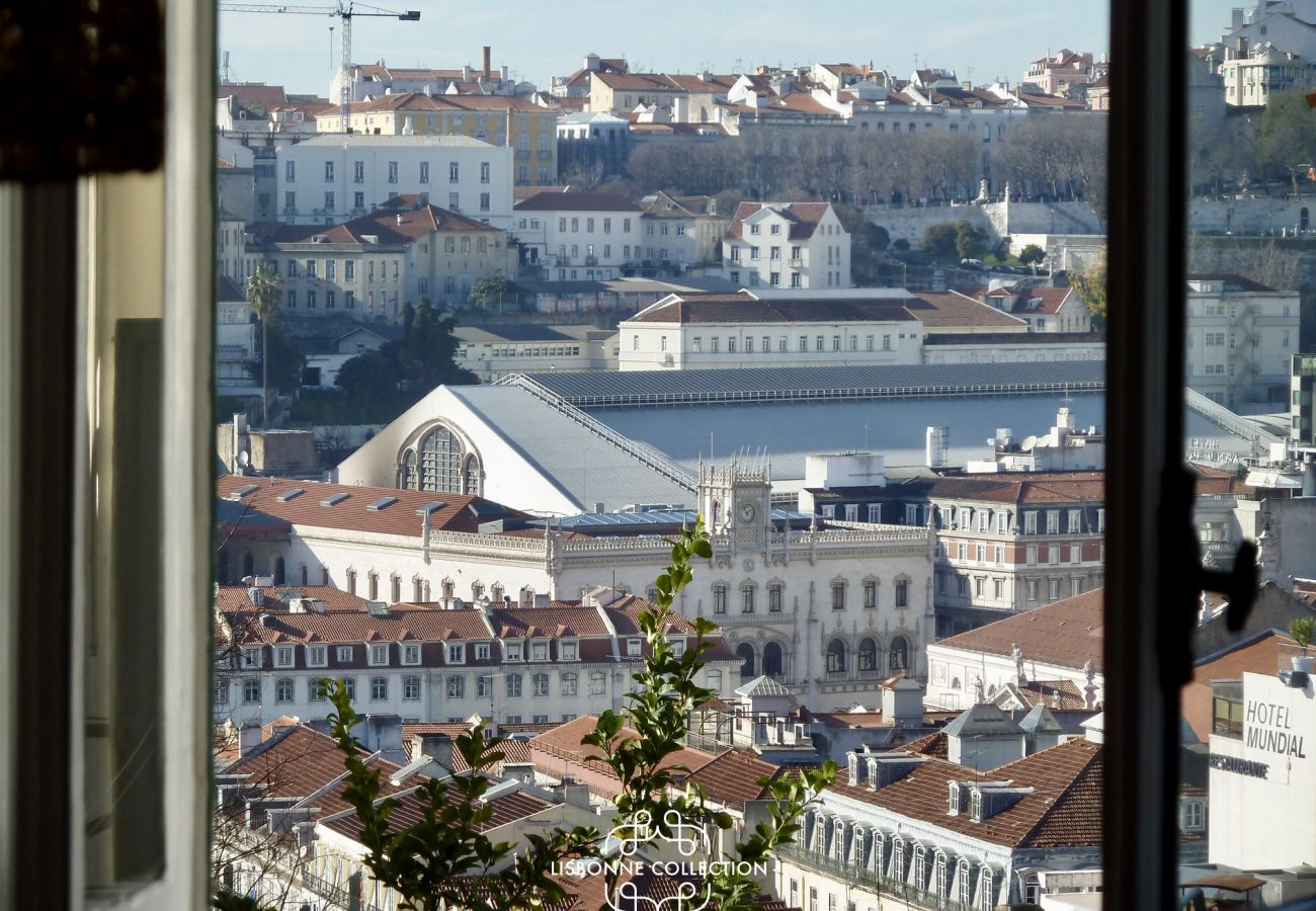 Panorama of the city of Lisbon from the apartment window