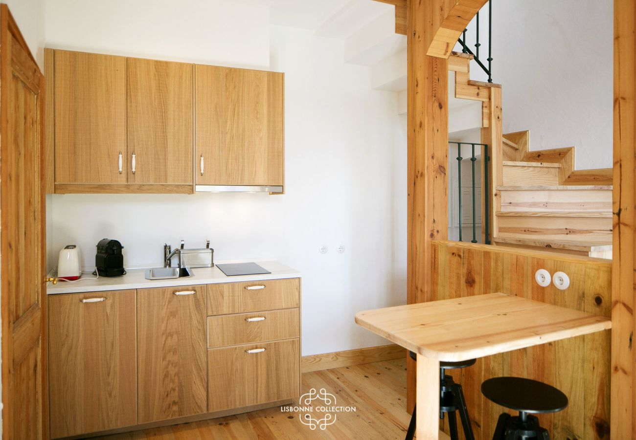 Large typical Lisbon kitchen in fully equipped wood
