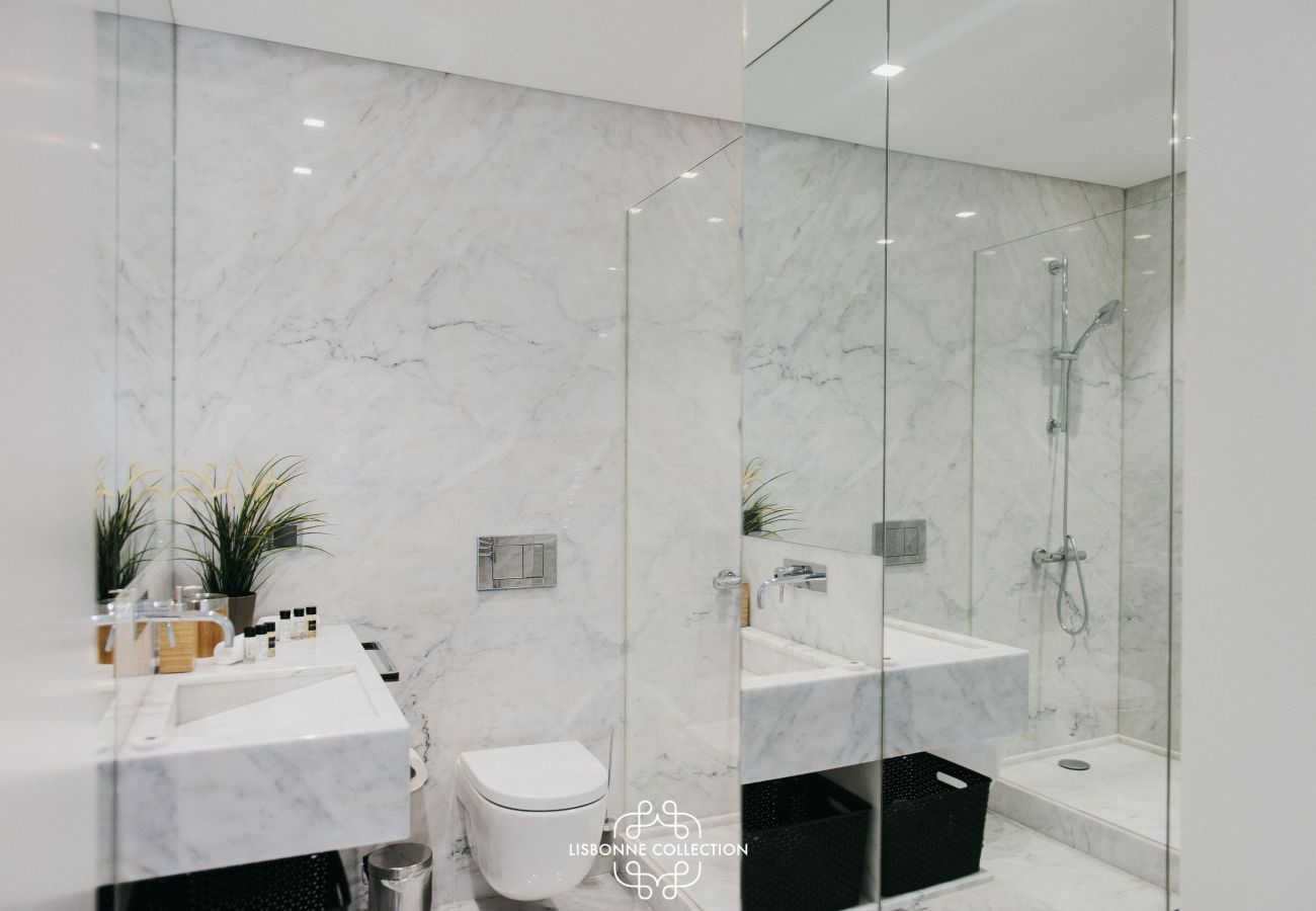 Luxury marble bathroom with shower, toilet and washbasin