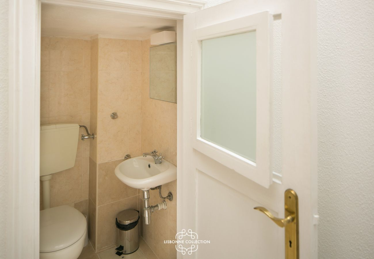 small typical toilet with wooden door