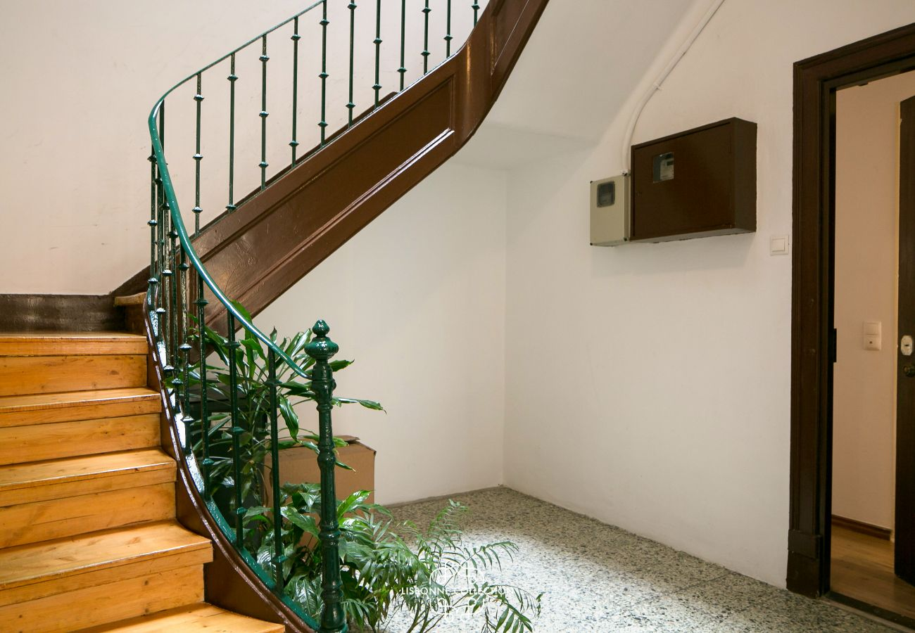 stairwell of the building where the apartment is rented