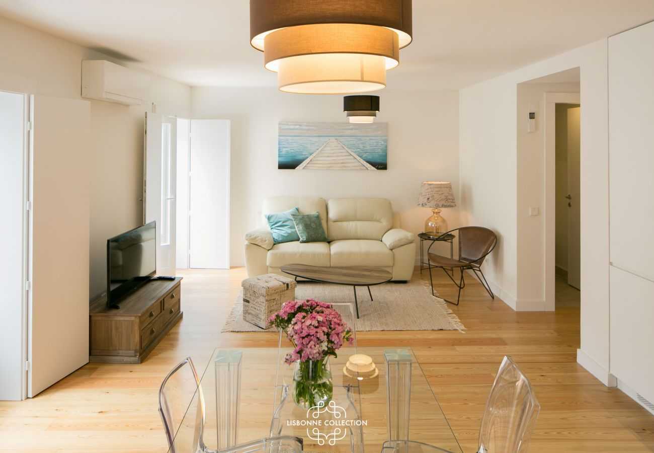 Living room of the apartment with an orange suspension
